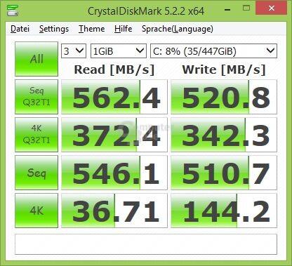 Crucial BX300 im CrystalDiskMark