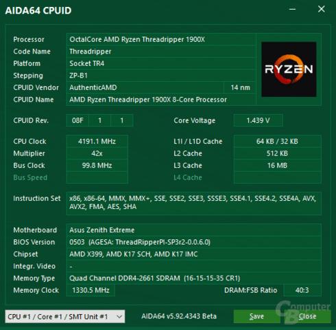 AMD Ryzen Threadripper 1900X bei vollem XFR-Takt von 4,2 GHz