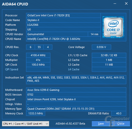 Intel Core i7-7820X im Quad-Core-Turbo