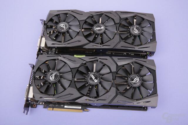 Asus Radeon RX Vega 64 Strix (oben) und die Asus GeForce GTX 1080 Ti Strix