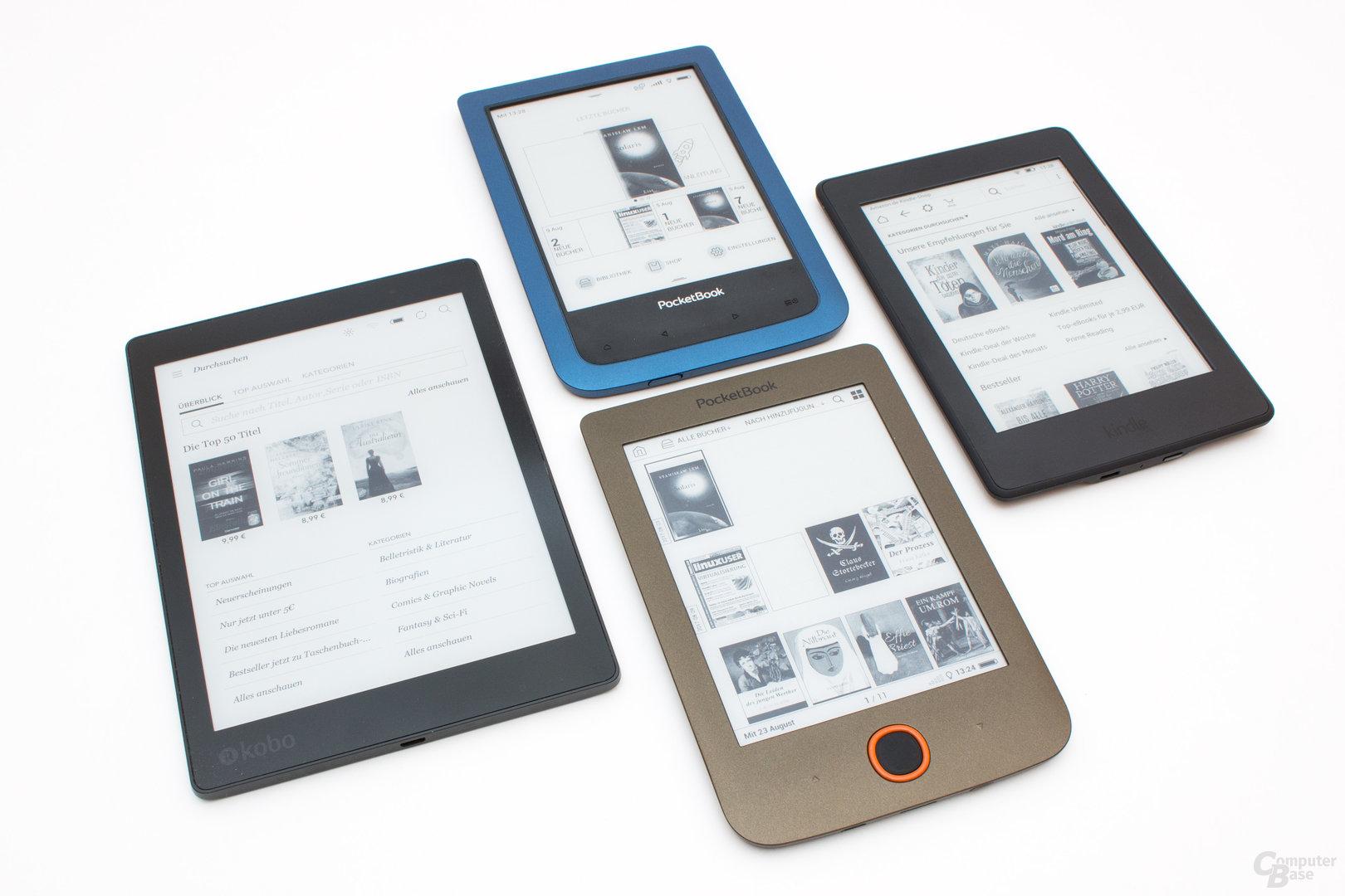 Größenvergleich Aura One, Kindle Paperwhite, Basic Lux, Aqua 2
