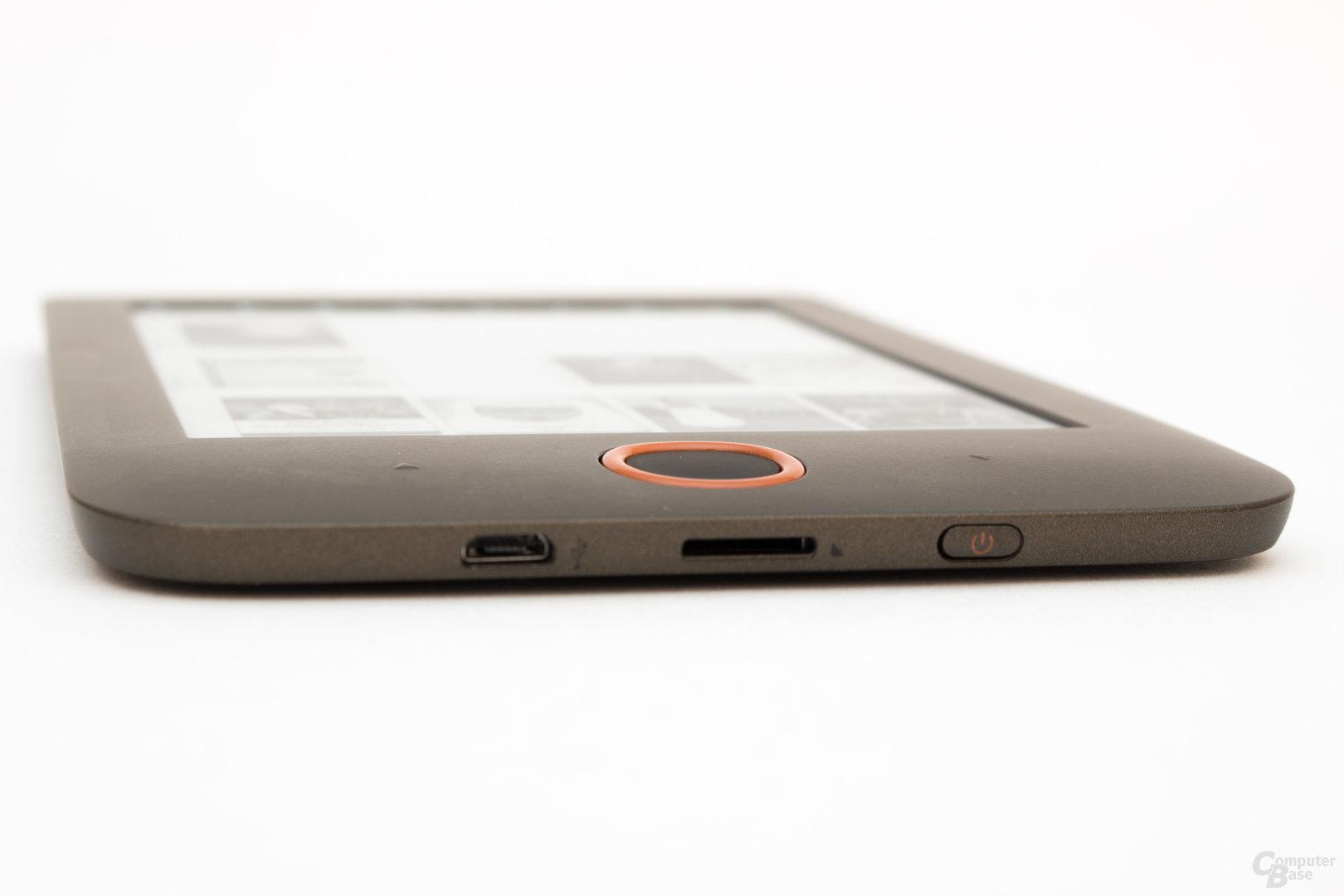 Kartenslot, USB-Anschluss und Ein-/Ausschalter