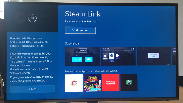Valve: Samsung integriert Steam Link per App im Smart TV