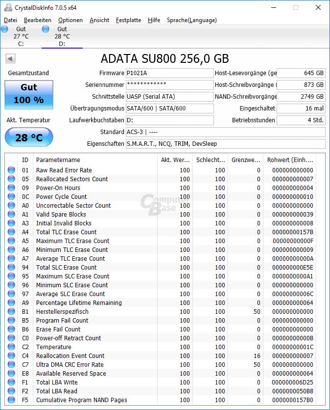 CrystalDiskInfo erkennt die Adata SD600 als Adata SU800