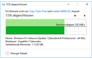 Schreibend werden knapp 300 MB/s beim Kopieren erzielt