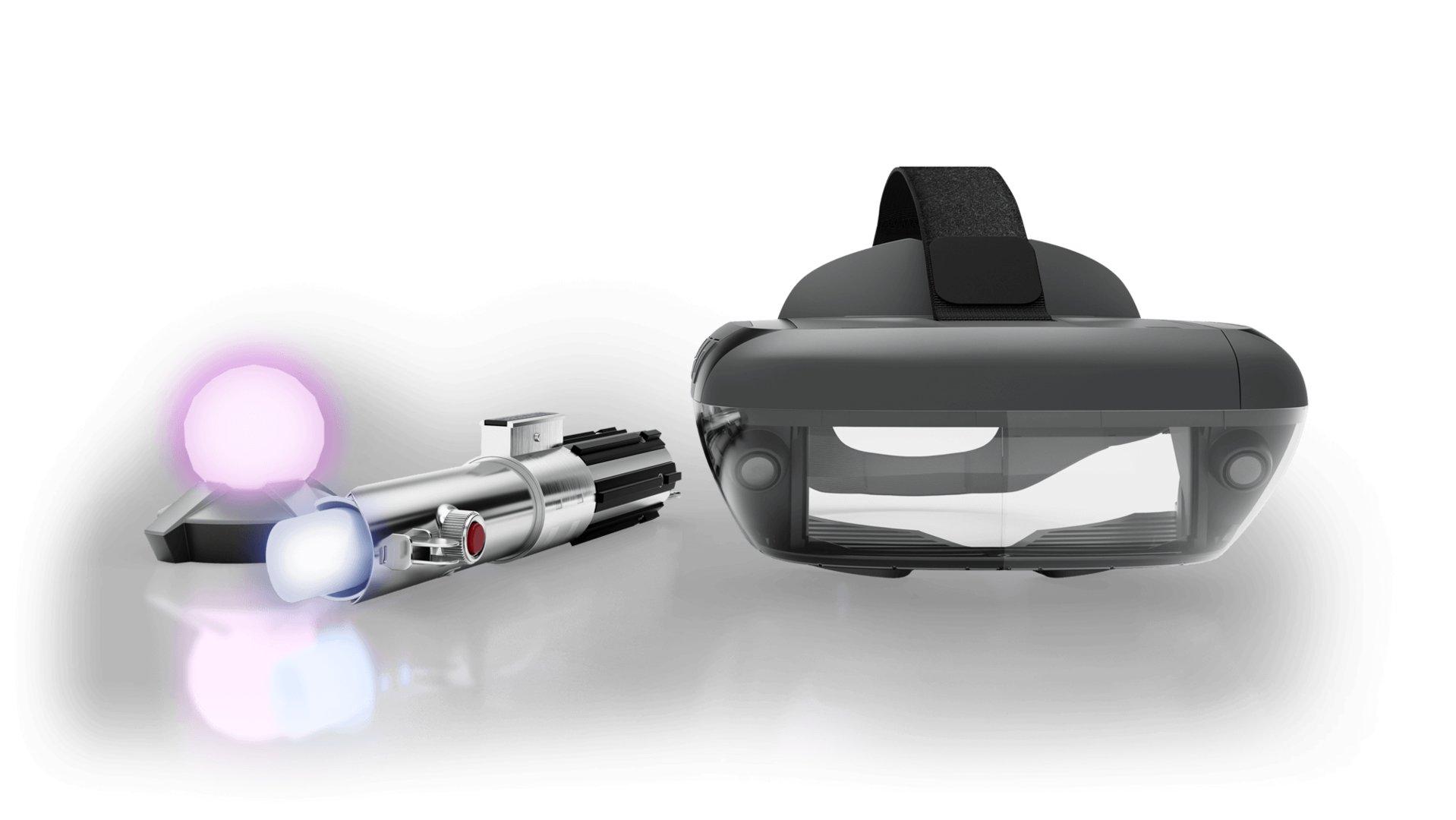 Das komplette Set: AR-Headset, Lichtschwert und Peilsender
