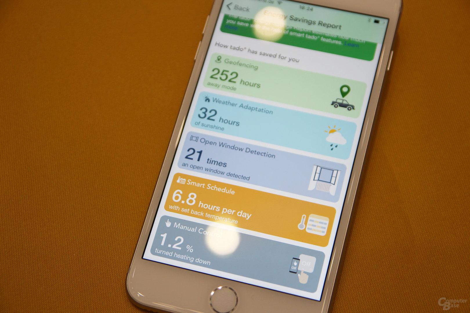 Tado mit Energiesparbericht