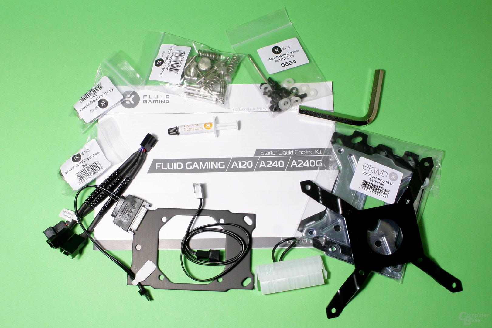 EK Fluid Gaming: Montagezubehör für CPU-Kühler und Pumpe