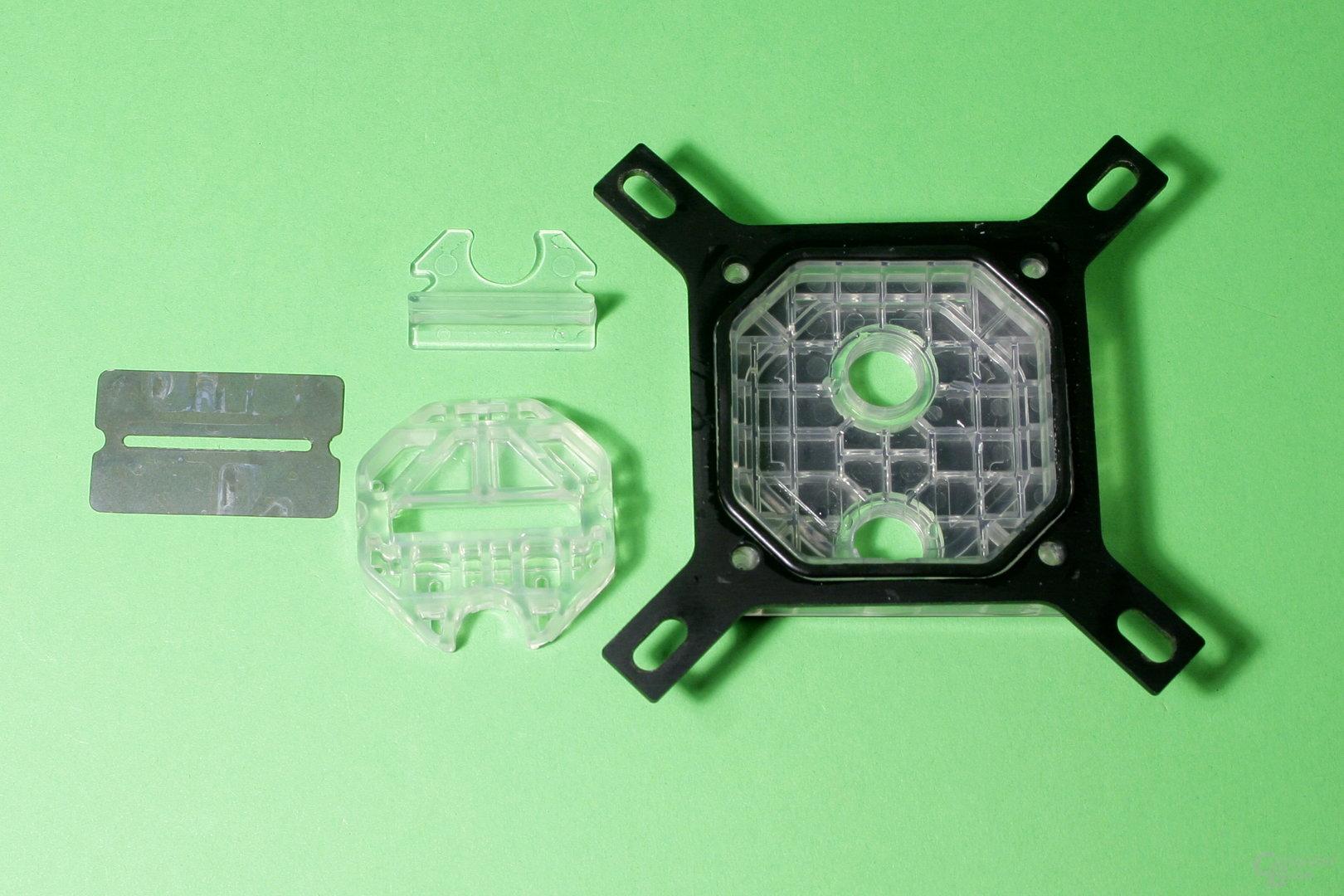 EK Fluid Gaming: Der Prozessorkühler besteht aus mehreren Bauteilen