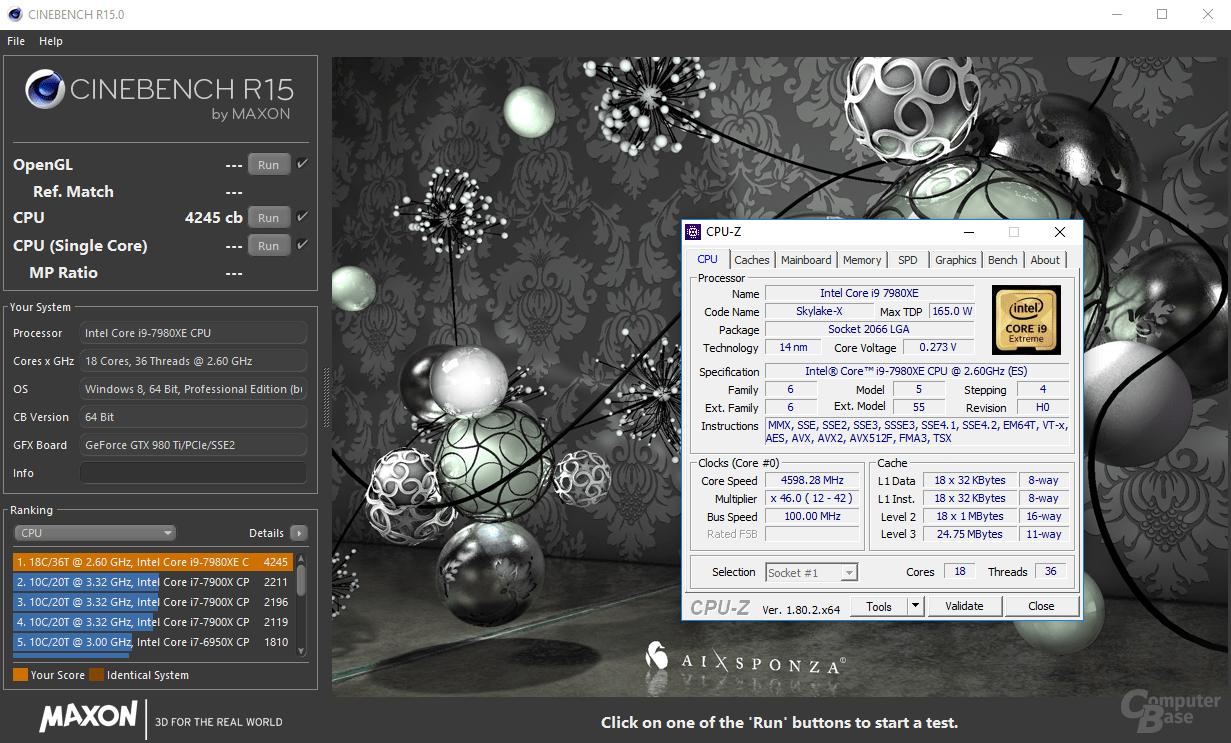 4,6 GHz über 36 Threads in Cinebench