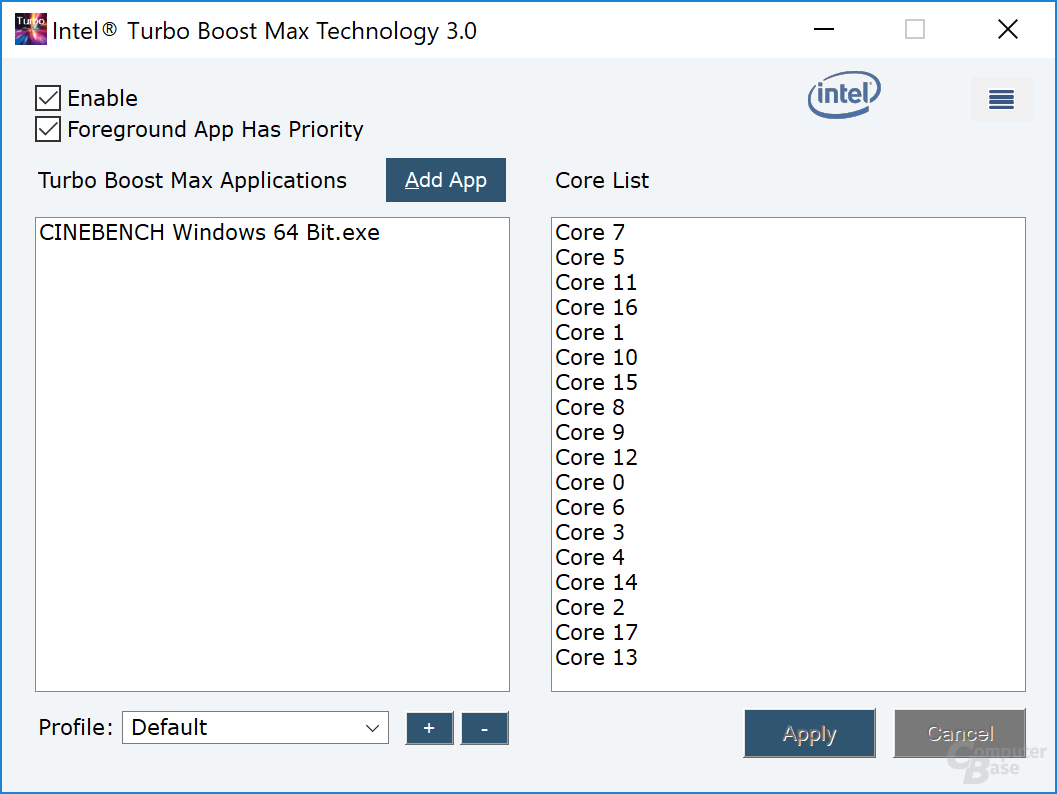 Intel-Tool für Turbo Boost 3.0