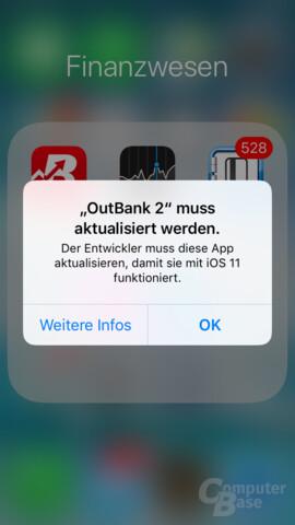 Apps in 32 Bit werden in iOS 11 nicht mehr unterstützt