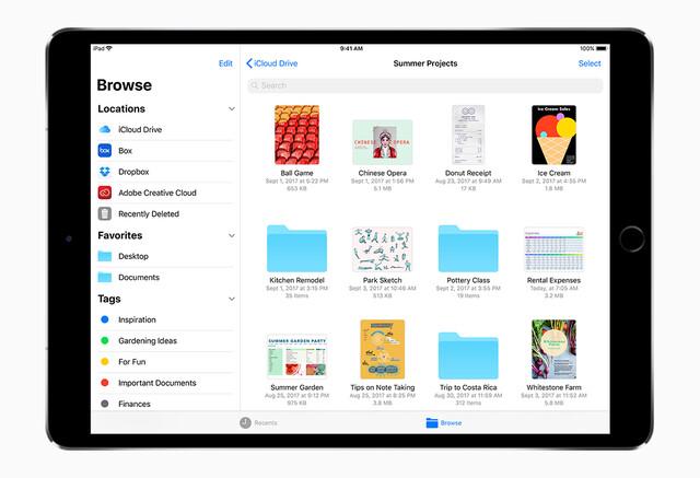 Die neue App Files (hier auf dem iPad)