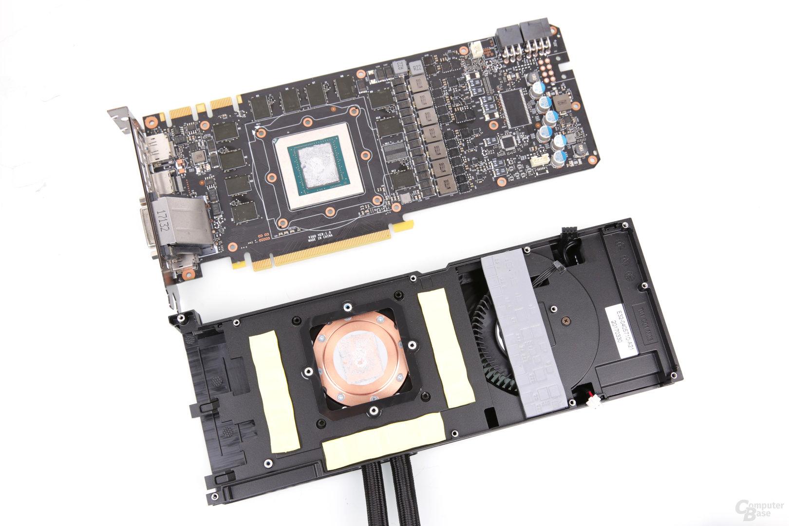 Kühlsystem für das Referenz-PCB mit All-in-One-Wakü und Radiallüfter