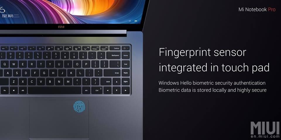 Fingerabdruckscanner im Touchpad