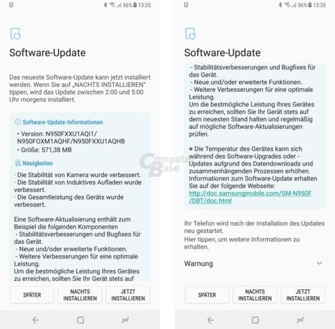 Firmware-Update zum Marktstart des Samsung Galaxy Note 8