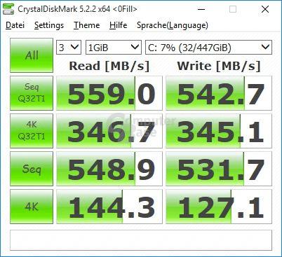 """Toshiba TR200 im CrystalDiskMark mit komprimierbaren Daten (Einstellung """"0 Fill"""")"""