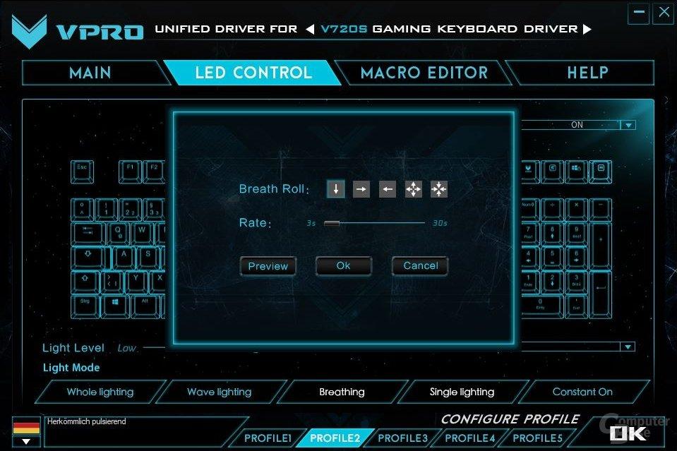LED-Effekte können konfiguriert werden