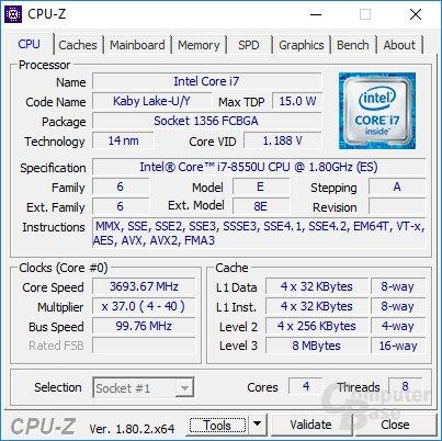 Der Intel Core i7-8550U im Medion Erazer P7651