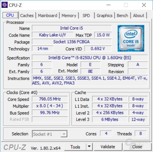 Der Core i5-8250U im Acer Spin 5