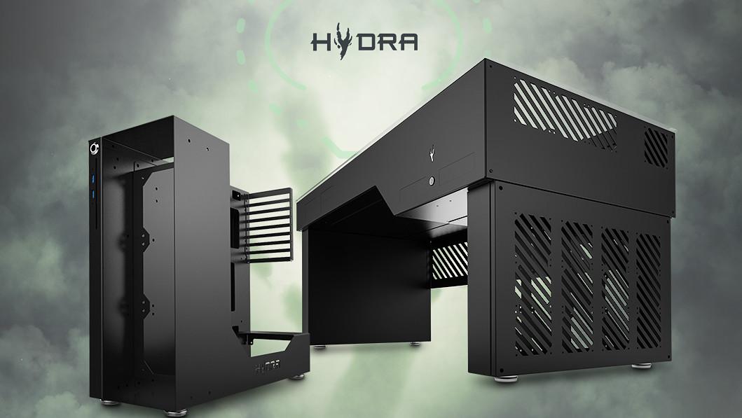 Hydra Desk & NR-01: Gehäuse als Tisch und halboffen