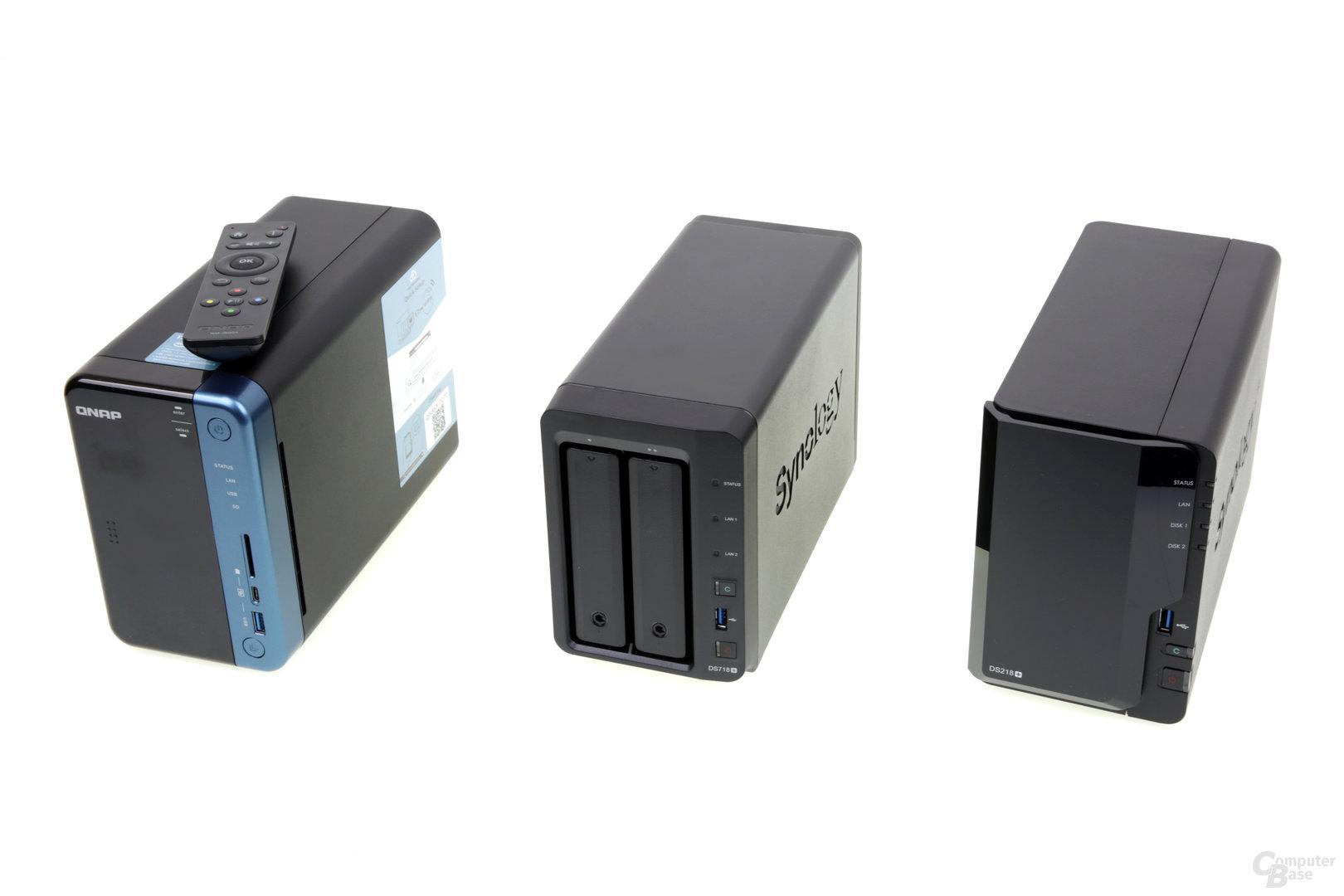 QNAP TS-253B, Synology DS718+ und DS218+ im Vergleich