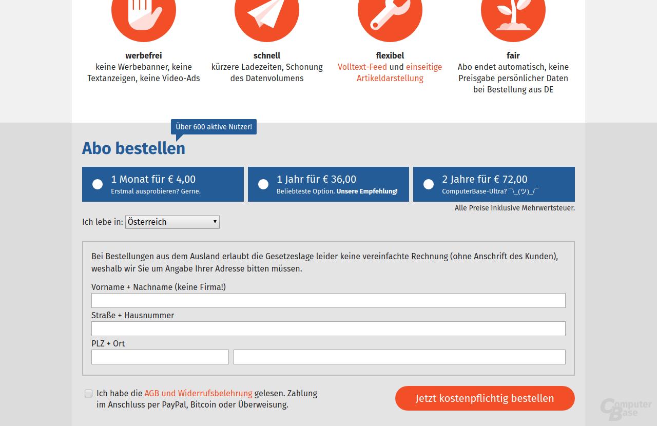Bestellung von ComputerBase Pro aus Österreich