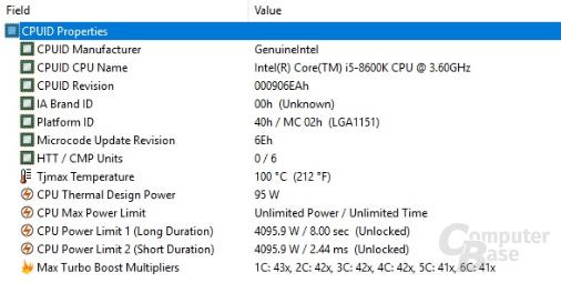 Turbo-Modi des Intel Core i5-8600K