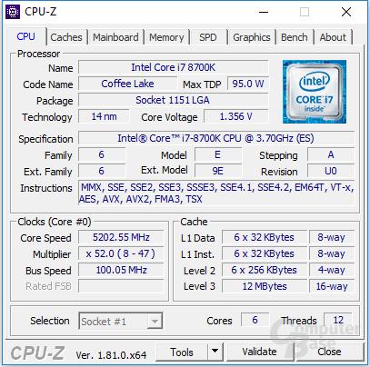 Intel Core i7-8700K bei 5,2 GHz für 12 Threads