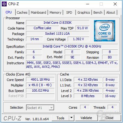 Intel Core i3-8350K bei 4,9 GHz
