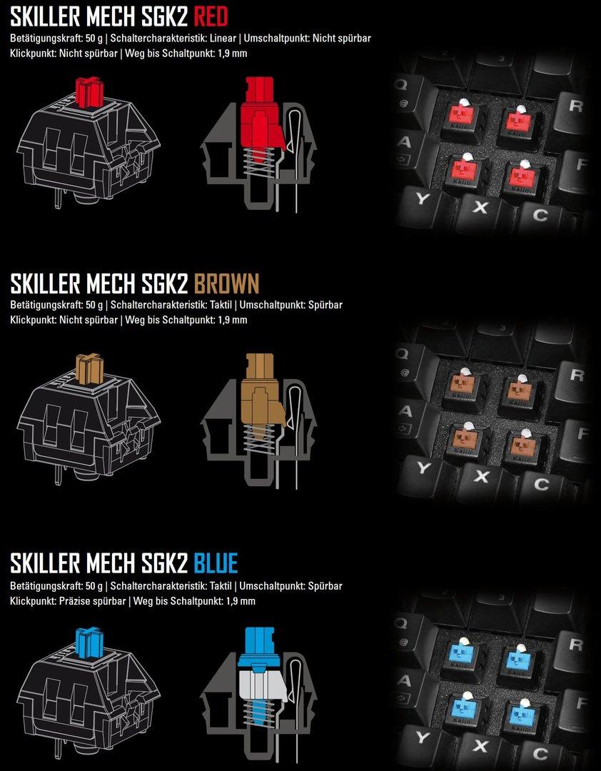 Die Mech SGK2 wird mit drei verschiedenen Tastern angeboten