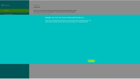 Windows 8.1: Anmelden in einen neuen Microsoft Account nicht möglich.