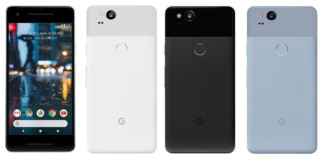 Pixel 2 in Weiß, Schwarz und Blaugrau