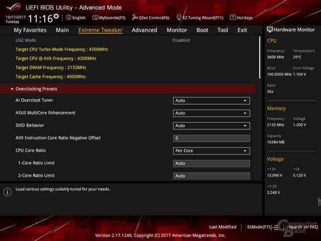 Neues BIOS mit dem Standard Per Core (Intel-Vorgaben)