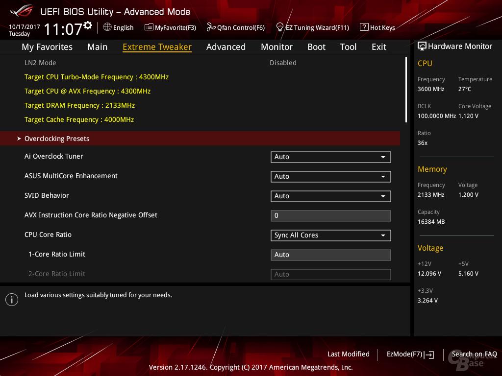 Das bisherige BIOS: Sync all Cores ist die Default-Option