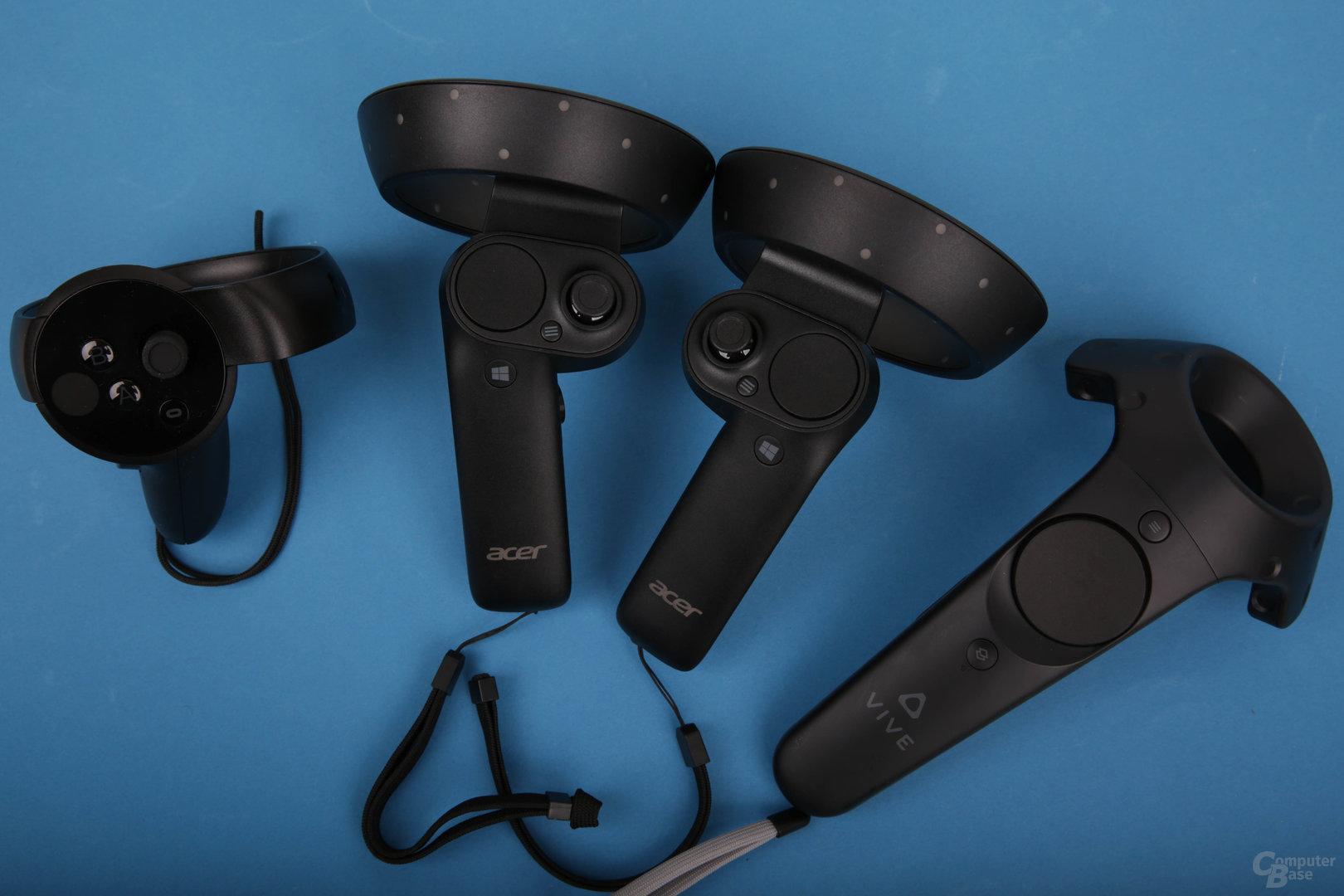 Die Controller von Oculus, Windows Mixed Reality und HTC Vive