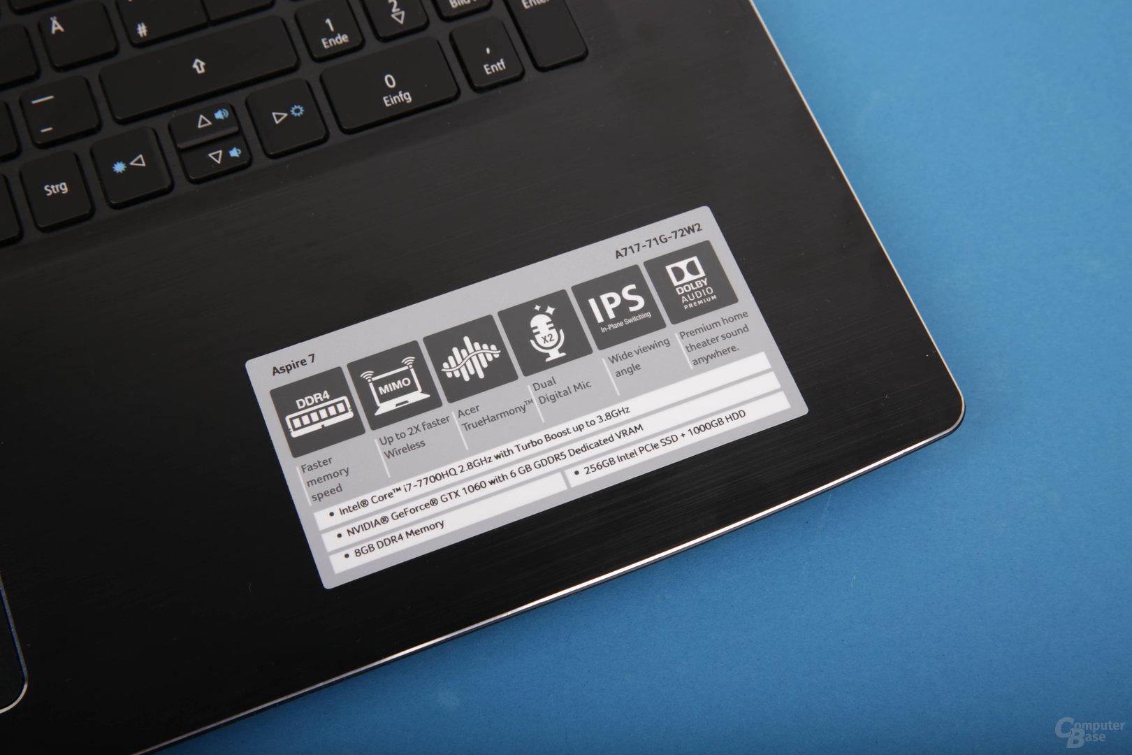 Eckdaten des Acer Aspire 7