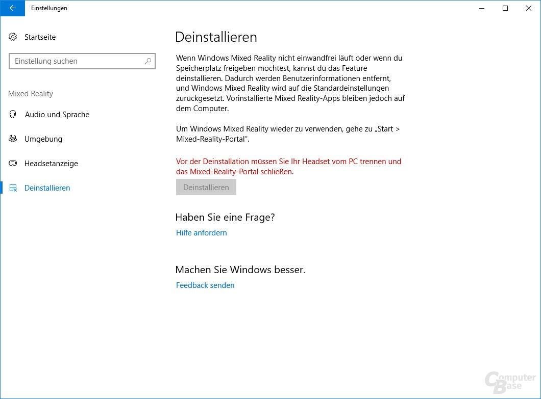 Wer Windows Mixed Reality nicht mehr nutzt, kann die Daten löschen