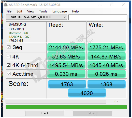 Samsung PM981 im AS SSD Benchmark