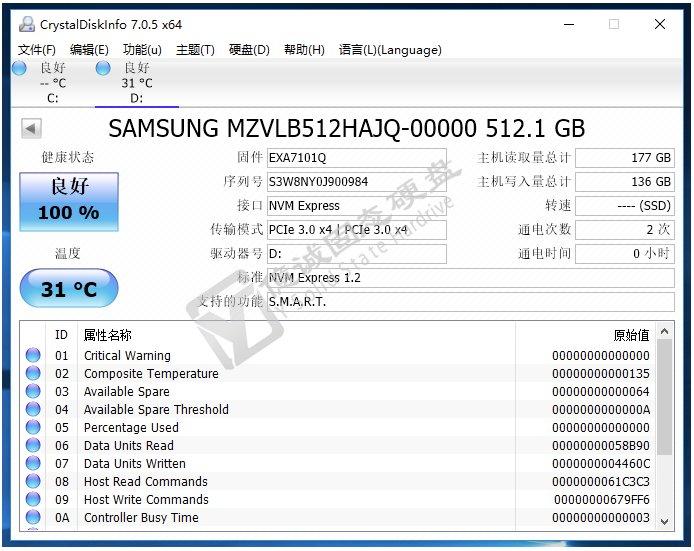 Samsung PM981 in CrystalDiskInfo