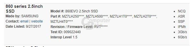 Samsung 860 Evo in SATA Integrators List