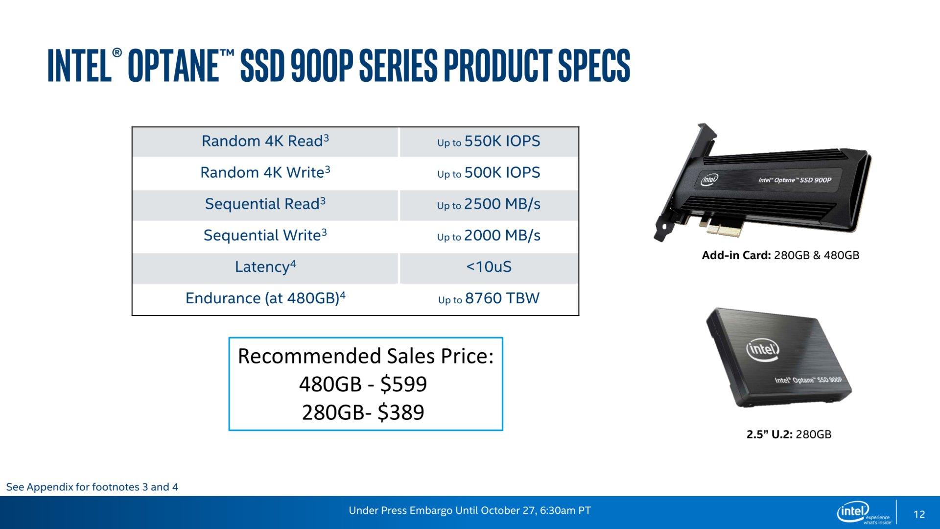 Optane SSD 900P: Spezifikationen und Preise (US)
