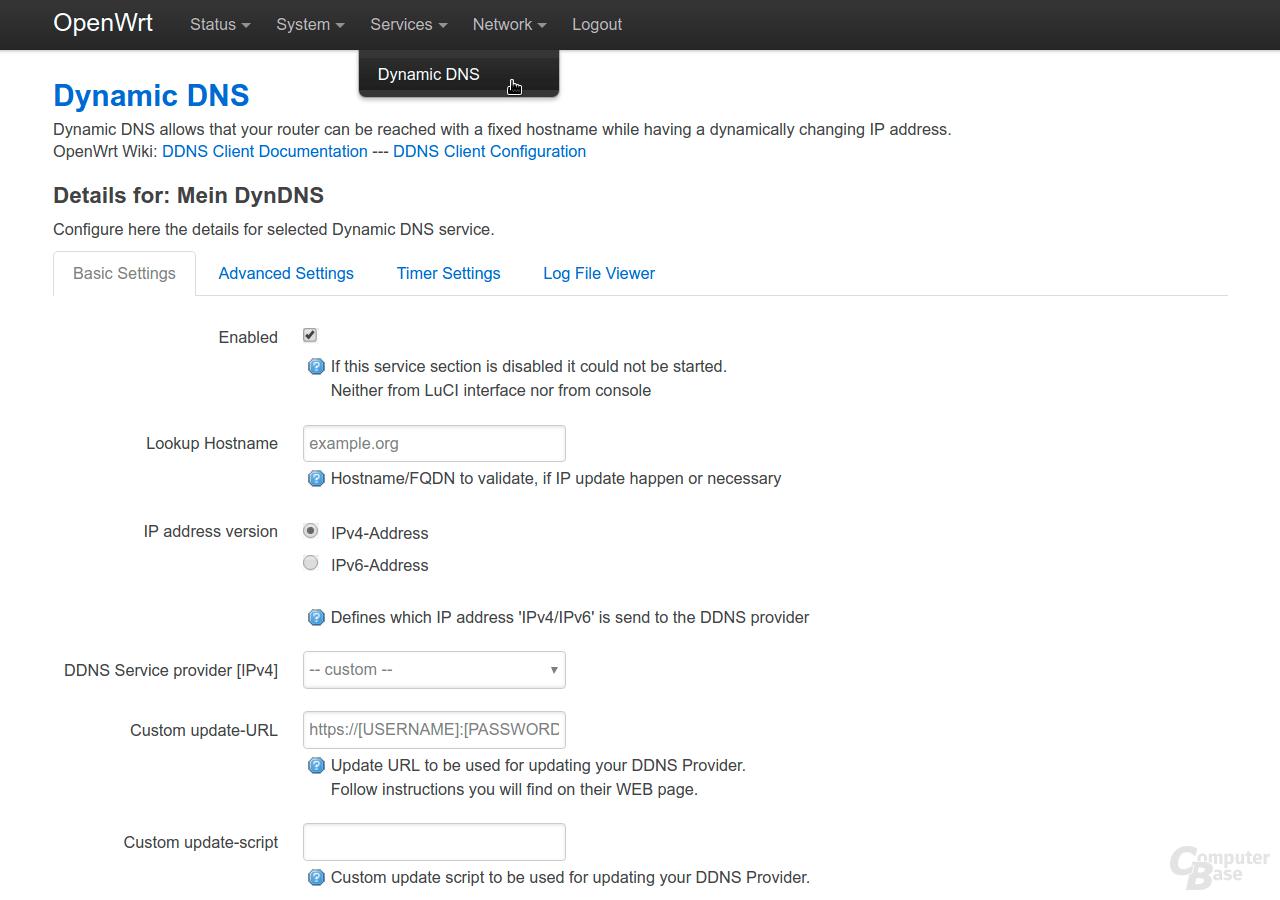 OpenWrt – Oberfläche LuCI – Services