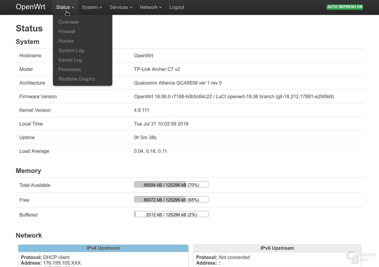 OpenWrt – Oberfläche LuCI – Status
