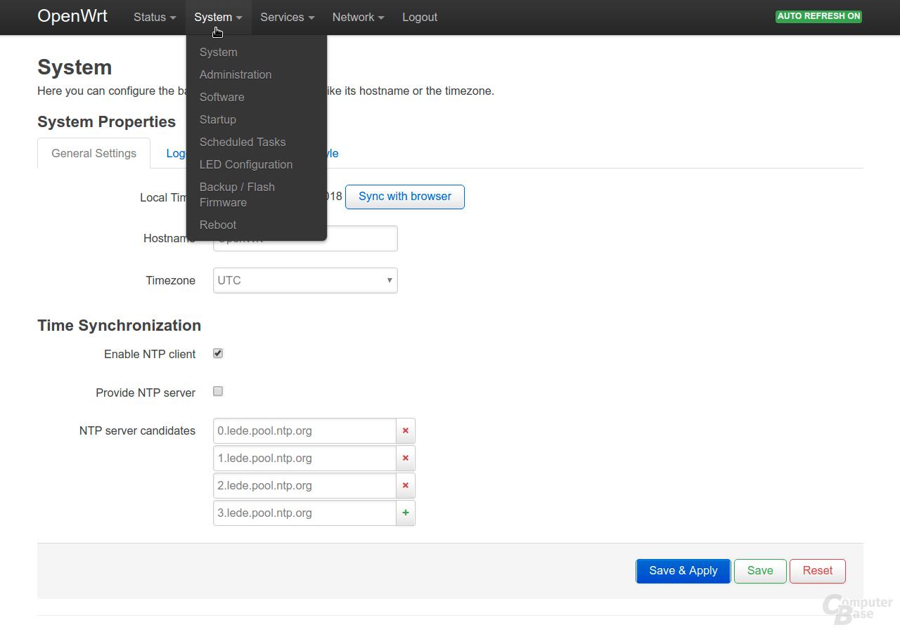 OpenWrt – Oberfläche LuCI – System
