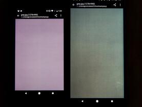 Fleckige Darstellung des Pixel 2 XL (rechts) neben Pixel 2 (links)