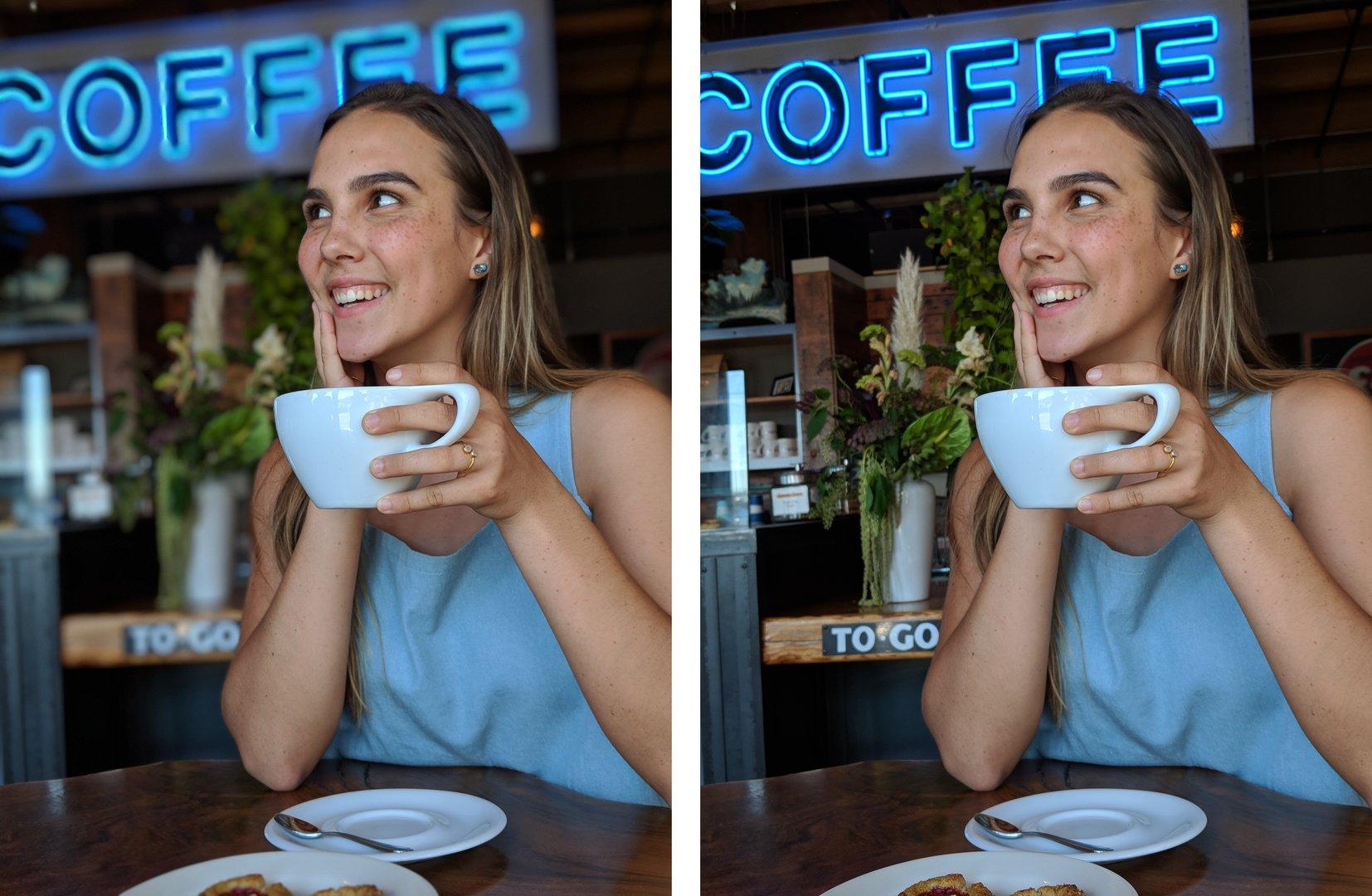 Mit Porträtmodus (links) und ohne (rechts)