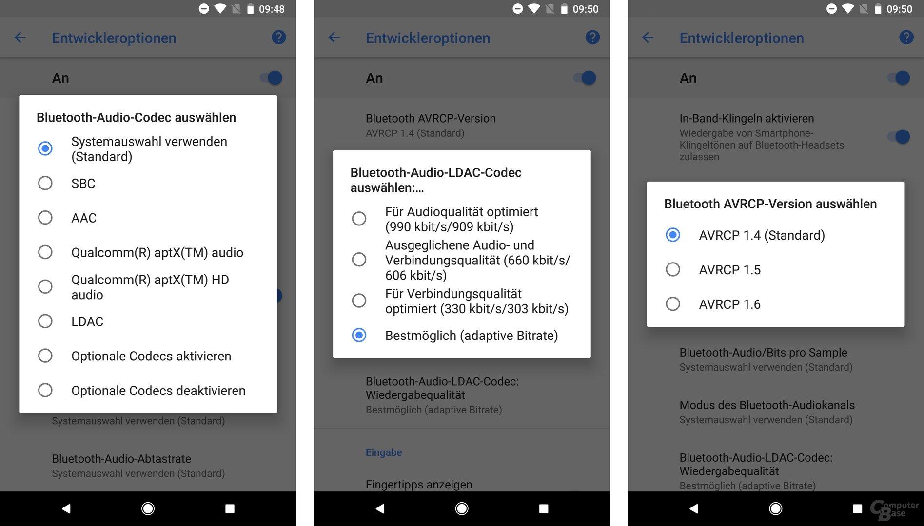 Entwickleroptionen: Bluetooth-Einstellungen für Codec und AVRCP