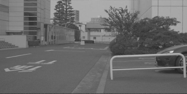 Beispielaufnahme mit IMX324 (Schild mittig am Ende der Straße)