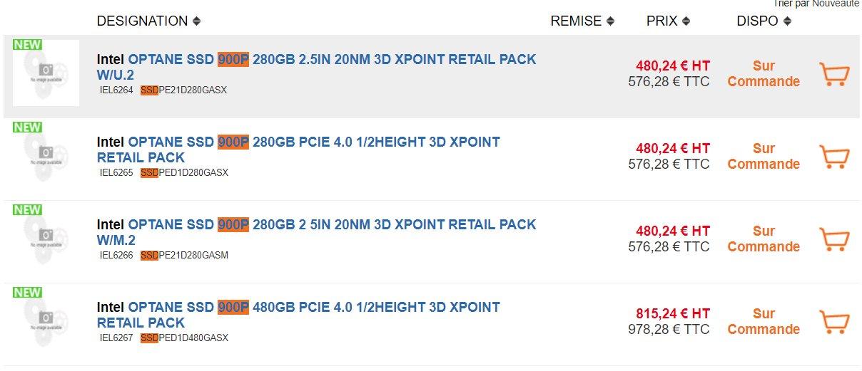 Erste Preislistungen der Intel Optane SSD 900P